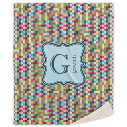 Retro Pixel Squares Sherpa Throw Blanket (Personalized)