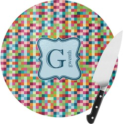 Retro Pixel Squares Round Glass Cutting Board - Small (Personalized)