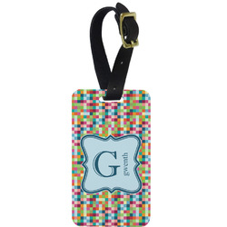 Retro Pixel Squares Aluminum Luggage Tag (Personalized)