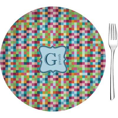 "Retro Pixel Squares 8"" Glass Appetizer / Dessert Plates - Single or Set (Personalized)"