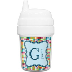 Retro Pixel Squares Baby Sippy Cup (Personalized)