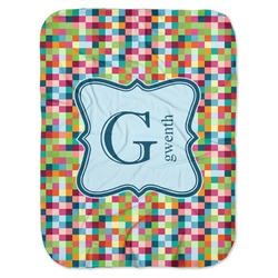 Retro Pixel Squares Baby Swaddling Blanket (Personalized)