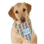 Retro Pixel Squares Dog Bandana Scarf w/ Name and Initial