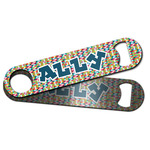 Retro Pixel Squares Bar Bottle Opener w/ Name and Initial