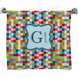 Retro Pixel Squares Full Print Bath Towel (Personalized)