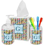 Retro Pixel Squares Acrylic Bathroom Accessories Set w/ Name and Initial