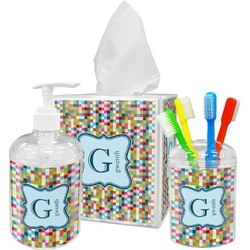 Retro Pixel Squares Bathroom Accessories Set (Personalized)