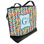 Retro Pixel Squares Beach Tote Bag (Personalized)