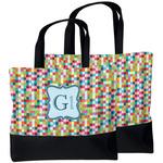 Retro Pixel Squares Beach Tote Bag (Personalized)