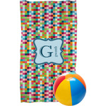 Retro Pixel Squares Beach Towel (Personalized)