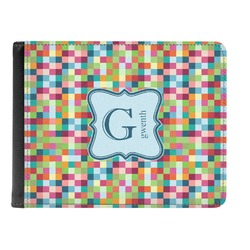 Retro Pixel Squares Genuine Leather Men's Bi-fold Wallet (Personalized)