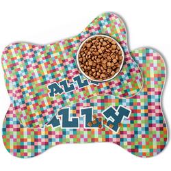 Retro Pixel Squares Bone Shaped Dog Food Mat (Personalized)