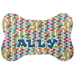 Retro Pixel Squares Bone Shaped Dog Food Mat (Personalized)