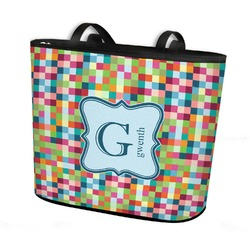 Retro Pixel Squares Bucket Tote w/ Genuine Leather Trim (Personalized)