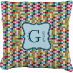 Retro Pixel Squares Faux-Linen Throw Pillow (Personalized)