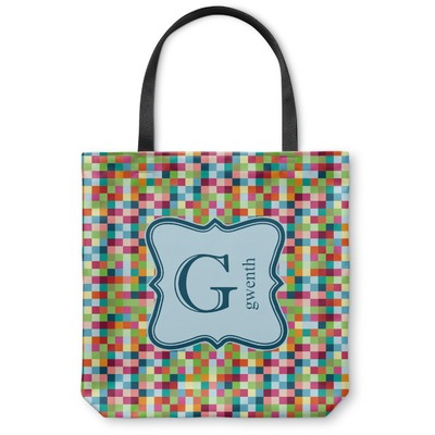 Retro Pixel Squares Canvas Tote Bag (Personalized)