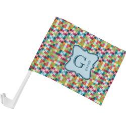 Retro Pixel Squares Car Flag (Personalized)