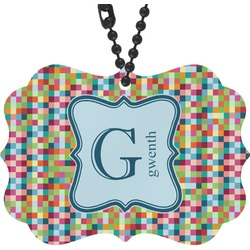 Retro Pixel Squares Rear View Mirror Charm (Personalized)