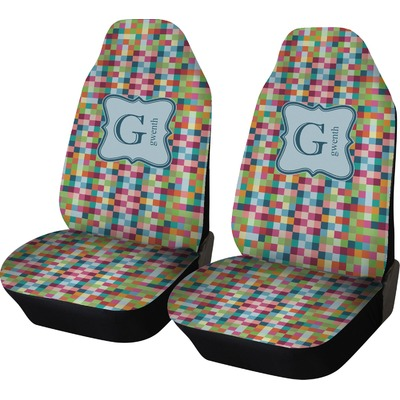 Retro Pixel Squares Car Seat Covers (Set of Two) (Personalized)
