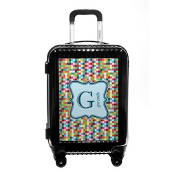 Retro Pixel Squares Carry On Hard Shell Suitcase (Personalized)