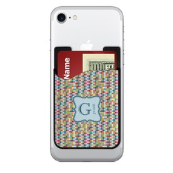 Retro Pixel Squares Cell Phone Credit Card Holder (Personalized)