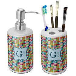 Retro Pixel Squares Bathroom Accessories Set (Ceramic) (Personalized)