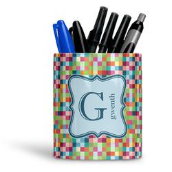 Retro Pixel Squares Ceramic Pen Holder