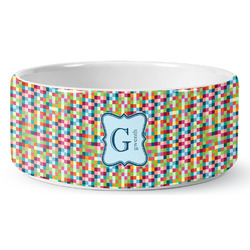 Retro Pixel Squares Ceramic Pet Bowl (Personalized)