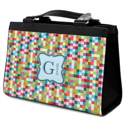Retro Pixel Squares Classic Tote Purse w/ Leather Trim (Personalized)