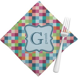 Retro Pixel Squares Napkins (Set of 4) (Personalized)