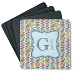 Retro Pixel Squares 4 Square Coasters - Rubber Backed (Personalized)