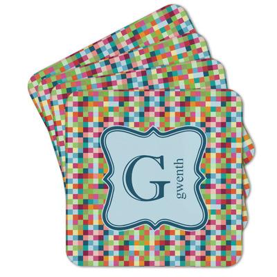 Retro Pixel Squares Cork Coaster - Set of 4 w/ Name and Initial