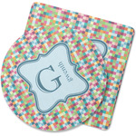 Retro Pixel Squares Rubber Backed Coaster (Personalized)