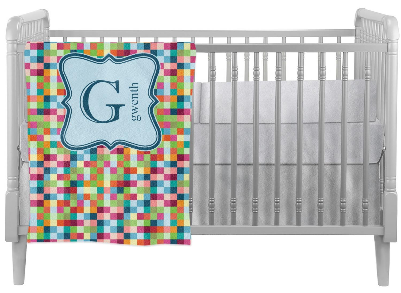 Retro Pixel Squares Crib Comforter Quilt Personalized