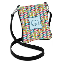 Retro Pixel Squares Cross Body Bag - 2 Sizes (Personalized)