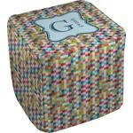 Retro Pixel Squares Cube Pouf Ottoman (Personalized)