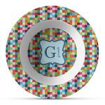 Retro Pixel Squares Plastic Bowl - Microwave Safe - Composite Polymer (Personalized)