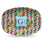 Retro Pixel Squares Plastic Platter - Microwave & Oven Safe Composite Polymer (Personalized)