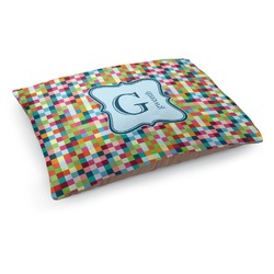 Retro Pixel Squares Dog Pillow Bed (Personalized)