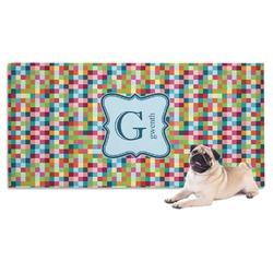 Retro Pixel Squares Dog Towel (Personalized)