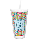 Retro Pixel Squares Double Wall Tumbler with Straw (Personalized)