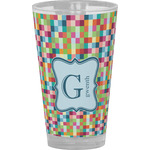 Retro Pixel Squares Drinking / Pint Glass (Personalized)