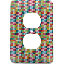 Retro Pixel Squares Electric Outlet Plate (Personalized)