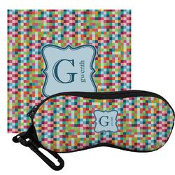 Retro Pixel Squares Eyeglass Case & Cloth (Personalized)