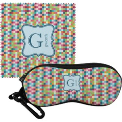 Retro Pixel Squares Eyeglass Case & Cloth (Personalized)
