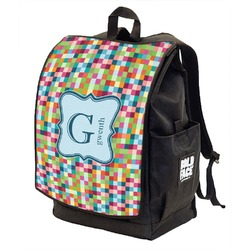 Retro Pixel Squares Backpack w/ Front Flap  (Personalized)