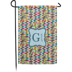 Retro Pixel Squares Garden Flag - Single or Double Sided (Personalized)
