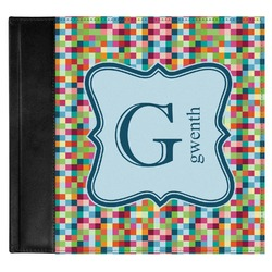 Retro Pixel Squares Genuine Leather Baby Memory Book (Personalized)