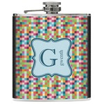 Retro Pixel Squares Genuine Leather Flask (Personalized)