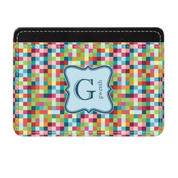 Retro Pixel Squares Genuine Leather Front Pocket Wallet (Personalized)